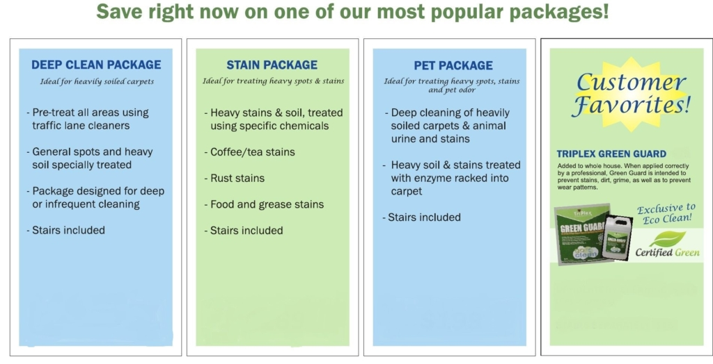 Carpet cleaning discounts   Eco Clean packages